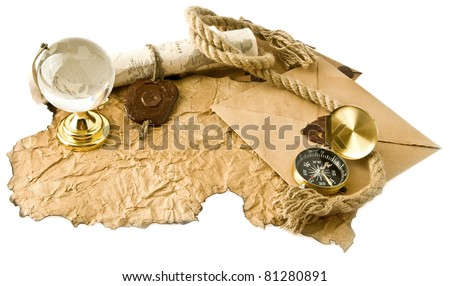 old maps, compass and globe on a white background