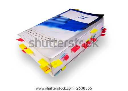 Old master guide book isolated over white background - stock photo