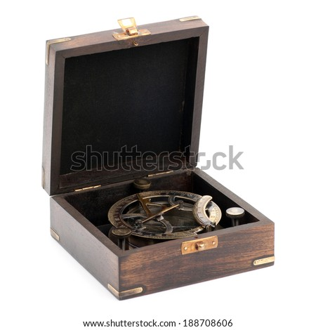Old measuring instrument for navigation in box isolated on white - stock photo