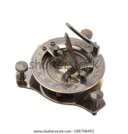 Old measuring instrument for navigation isolated on white - stock photo