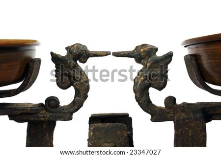 Old mechanical balance made before world war II. - stock photo