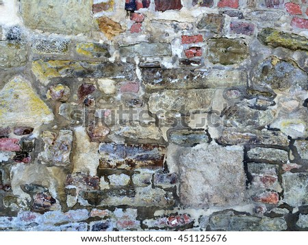old, medieval abbey wall - stock photo