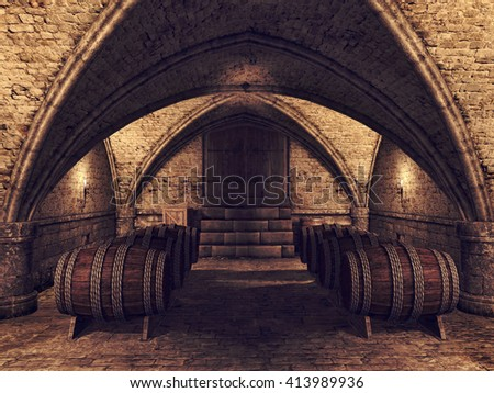Old medieval cellar with wine barrels. 3D illustration. - stock photo