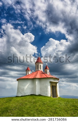 Old medieval chapel. Sanzieni. Transylvania. romania - stock photo