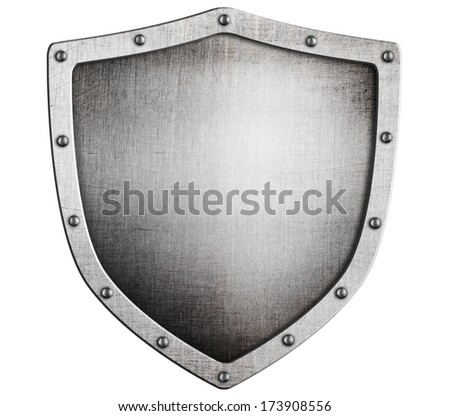 old medieval metal shield isolated on white - stock photo