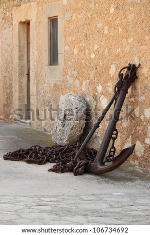 Old medieval naval anchor used by spanish galleons - stock photo