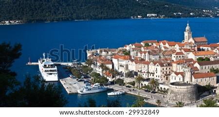 Old medieval town Korcula - panorama. Croatia, Dalmatia region, Europe. - stock photo