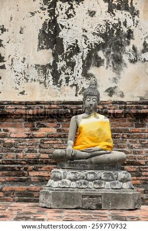 old Meditation Buddha statue, Thailand - stock photo