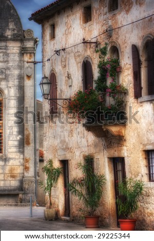 Old Mediterranean stone house , soft focus photo