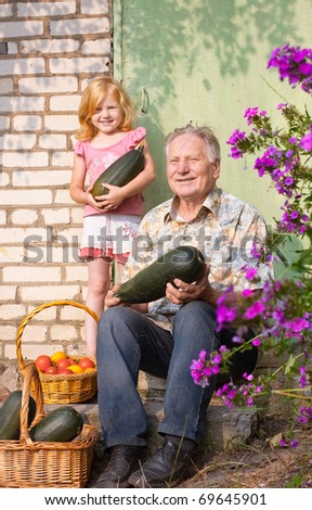 old men and girl outdoor - stock photo