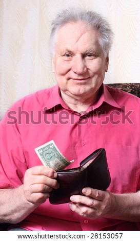 old men with one dollar - stock photo