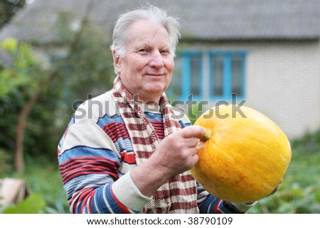 old men with pumpkin - stock photo