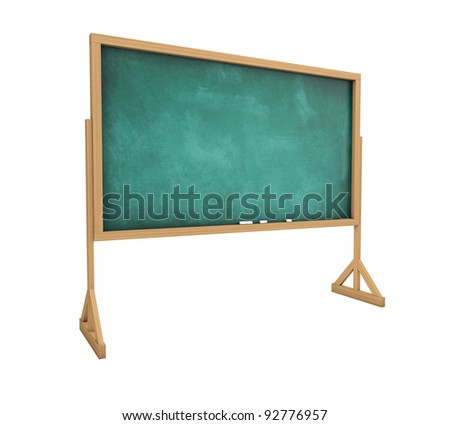 Old messy blank blackboard isolated on white