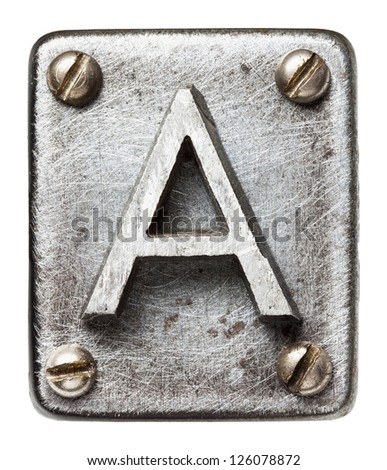 Old metal alphabet letter A - stock photo