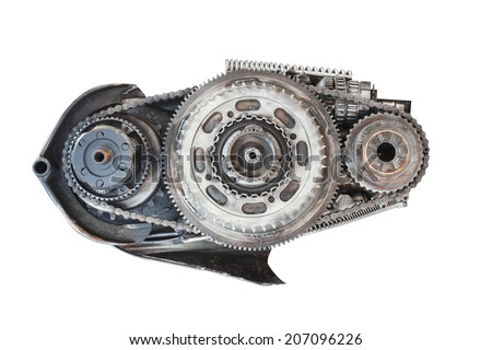 old metal automobile engine part isolate on white background with clipping path - stock photo