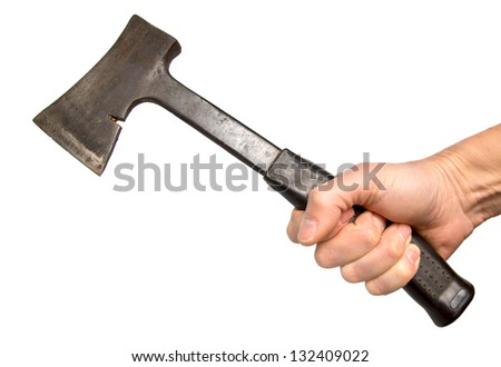 old metal axe in a hand, it is isolated on the white