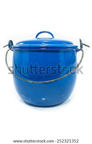 old metal blue pot on a white background - stock photo