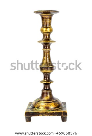 Old Metal Brass Candlestick Isolate on White Background