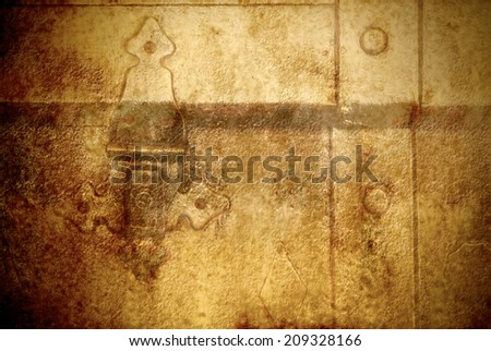 Old metal chest,grunge  trunk in golden color  - stock photo