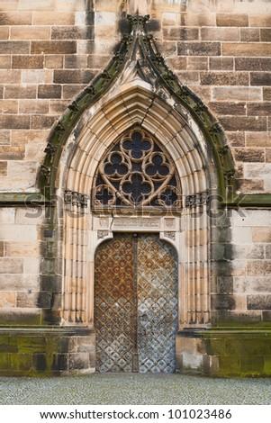 old metal church door - stock photo