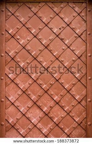 Old metal door decoration - stock photo