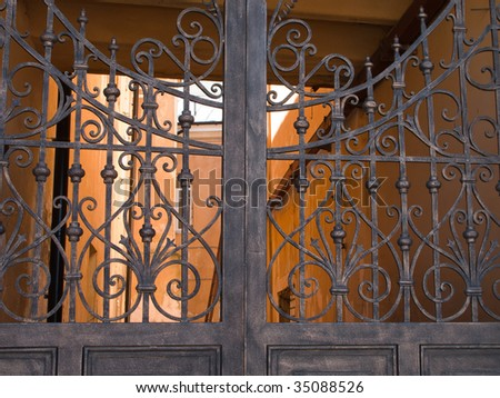 Old metal gate and security closed entrance door - stock photo