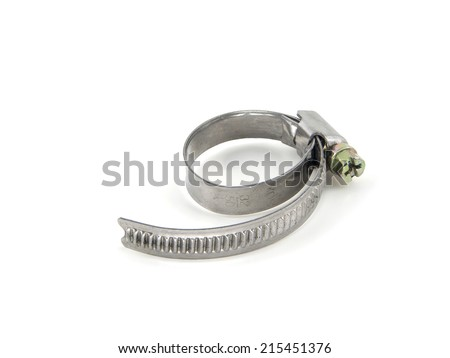 Old metal hose clamp isolated on white - stock photo