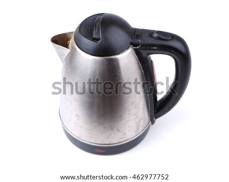 old metal kettle on the white background