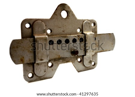 old metal lock isolated on white - stock photo