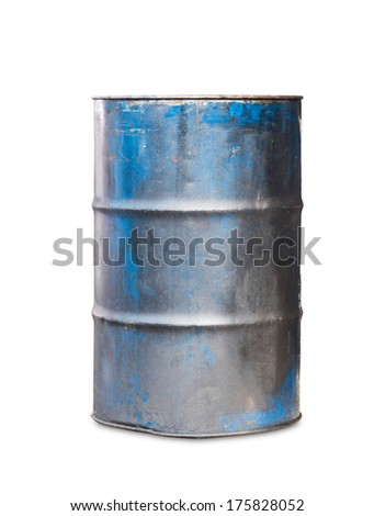 Old metal oil barrel on white background with clipping path - stock photo