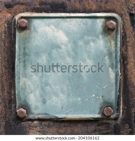 Old Metal plate texture with bolts. - stock photo