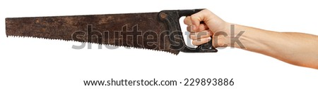 Old metal saw in male hand isolated on white background