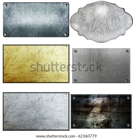 old metal sign collections isolated on white - stock photo