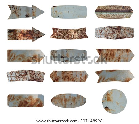 Old metal sign isolated on white background, Objects with clipping paths for design work - stock photo