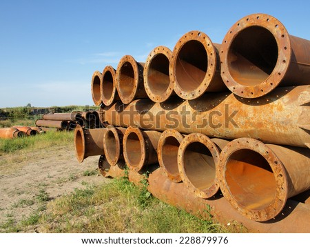 Old metal water pipe - stock photo