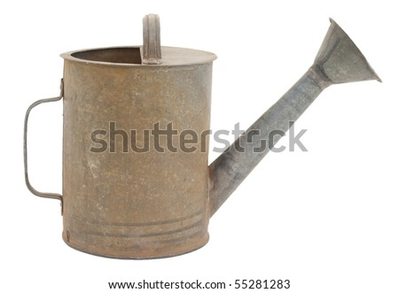 Old metal watering can, a classic design. Isolated on a white background - stock photo