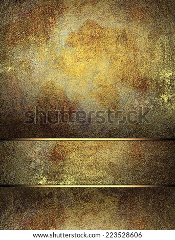 Old metallic background with cutout with gold edges. Design template. Design site - stock photo