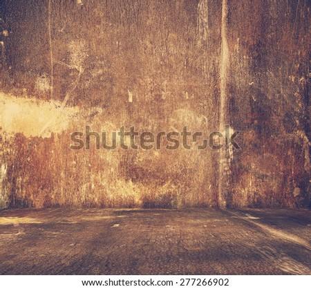 old metallic interior, retro filtered, instagram style - stock photo
