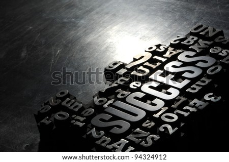 Old Metallic Letters:Success concept related words - stock photo