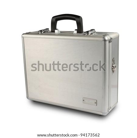 old metallic suitcase on white - stock photo