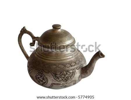 Old Metallic Tea Pot - stock photo
