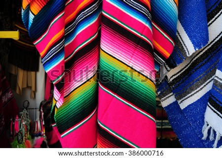 Old Mexican blankets with bright colors