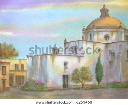"Old Mexican Colonial Convent ,of Saint Francis, Queretaro, Mexico # 94-068; 28x43 cm. = 11""x17"""
