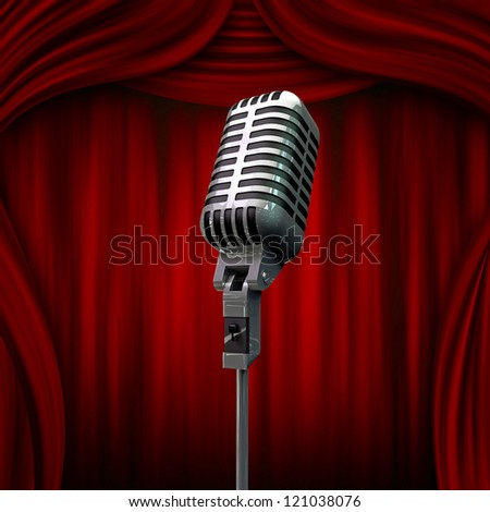 old microphone and red curtains - stock photo