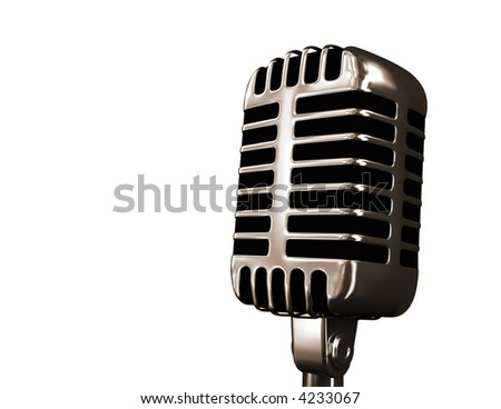 Old microphone isolated on white - stock photo
