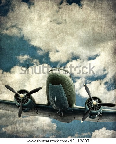 Old military aircraft, vintage background - stock photo