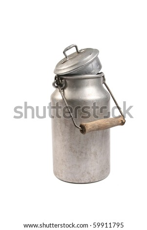 old milk can - stock photo