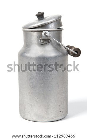 old milk can against white background - stock photo