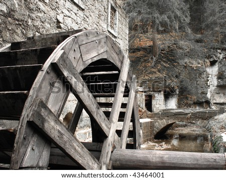Old mill-wheel - stock photo