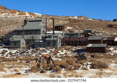 Old mine buildings in Bodie, California, USA. - stock photo